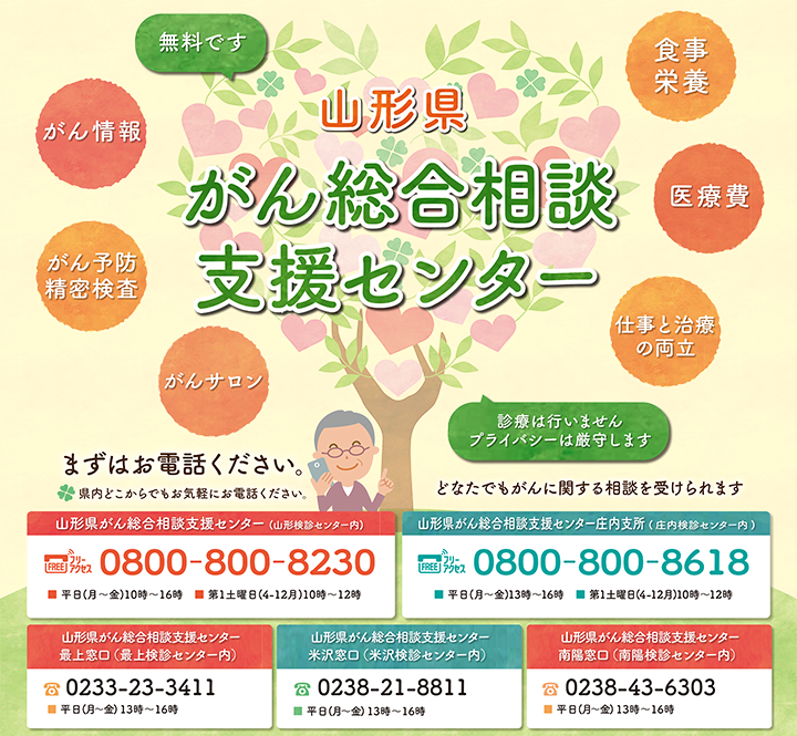 山形県がん総合相談支援センター。どなたでもがんに関する相談を受けられます。無料です